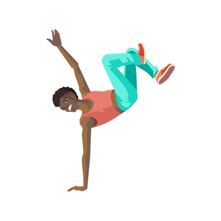 People dancing character in different poses concept. Young dancing guy, teenager, standing on to hand, dances in the style of break dance, under rhythmic music. Vector illustration in cartoon style. Stock Photo