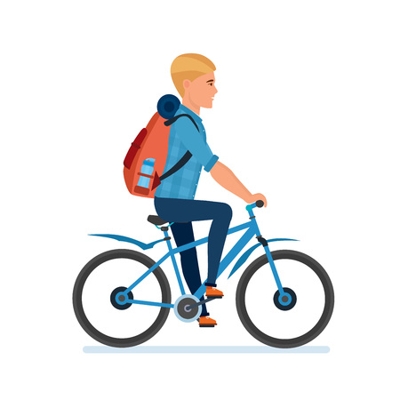 Young traveler with luggage behind him, riding a bicycle. Illustration