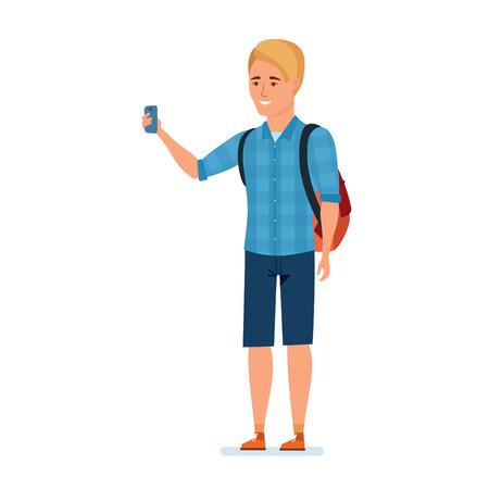 Reiziger, maakt kennis met bezienswaardigheden, maakt selfie op achtergrondomgeving. Stock Illustratie