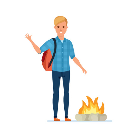 Young traveler man occupy an active rest, obtains fire.