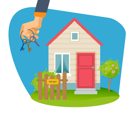 Real estate agency. Hand with keys on background selling house.