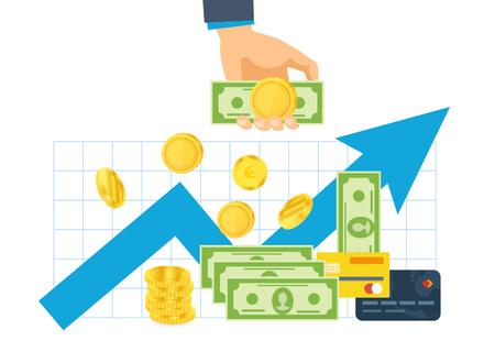 Finanzielle Investition. Hände halten Geldscheine und Goldmünzen.