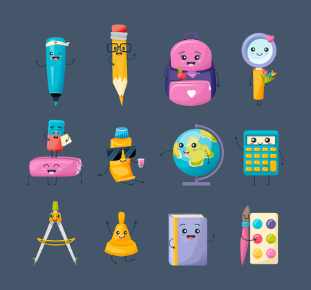 education concept: Set of school funny office supplies characters. School writing stationery. Illustration