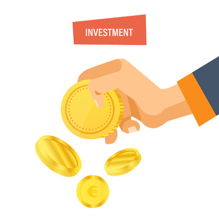 Financial investment concept. Security of deposits, guarantee of security financial savings and money turnover, strategic management, banking, planning. Hand holds coins. Vector illustration isolated.