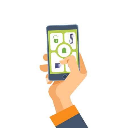 손 전화를 보유하고있다. 스마트 폰의 소프트웨어. 모바일 애플리케이션. 귀하의 필요에 따라 전화와 그 기능을 사용하십시오. 벡터 일러스트 레이 션 흰색 배경에 고립. 스톡 콘텐츠 - 87345382