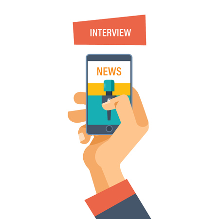 journalism: Interview concept. Hand hold microphone, reporters interview for publishers, press, television. Journalism and interviews. News broadcast. Vector illustration isolated.