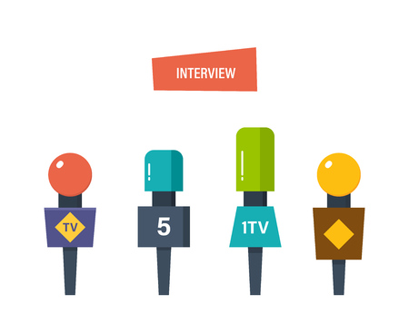journalism: Hands hold different microphones, reporters interview for publishers, press, television. oncept of journalism, interviews. Press conference and collection of materials. Vector illustration isolated.