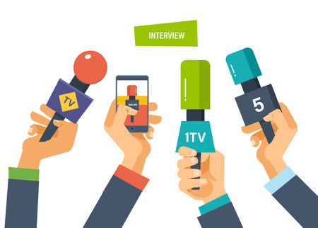 journalism: Hands hold microphones, telephones, cameras, reporters interview for publishers, press, television. Journalism, interviews. Live press conference collection of materials Vector illustration Illustration