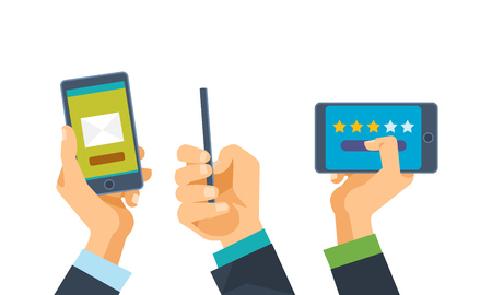 Communications, online messages and letters, rating, comments. Hand holds phone with software. Phone in 3 foreshortening: front view vertically and horizontally, side view. Vector illustration.