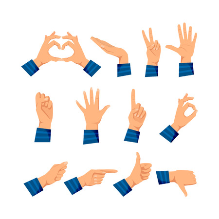 Set of hands in different gestures emotions and signs.