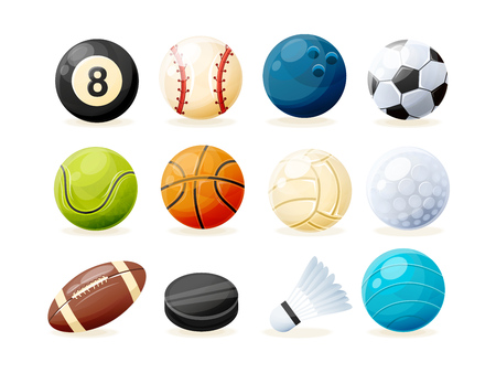 Set of modern sports equipment: ball for billiards, golf and bowling, balls for baseball, football, tennis, basketball, volleyball, rugby, water polo, washer and shuttlecock. Vector illustration Illustration