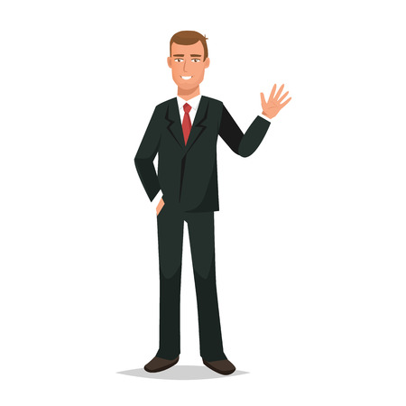 Office worker, gestures with hand, dressed in beautiful business suit. Illustration