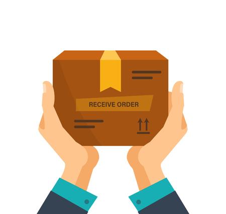 Bezorgservice, ontvangstpakket, doos van koerier naar klant, betaling. Vector Illustratie