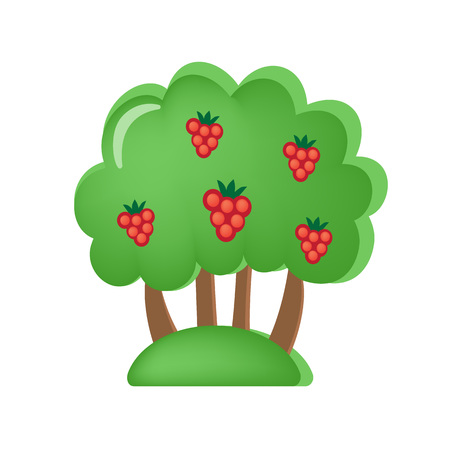 Colorful childrens toys. Toy store, home kids games. Educational and sports games. Toy childrens orchard with berries and fruits. Vegetation, trees, appearance. Vector illustration.