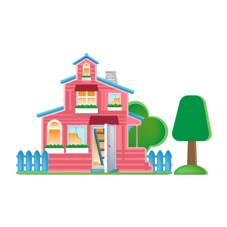 Colorful childrens toys. Toy store, home kids games. Educational and sport games. Doll house with ground and fence around. Appearance of building, facade, interior. Vector illustration.