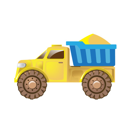Colorful childrens toys. Home kids games. Childrens truck car for delivery, cargo and transportation of construction materials, with a mountain of sand in trailer. Vector illustration. Ilustracja