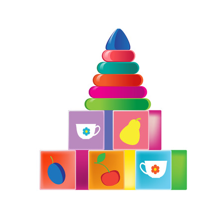 Modern colorful childrens toys. Toy store, home kids games. Educational and sports games. Childrens developing cubes with illustrations, colored pyramid. Vector illustration isolated.