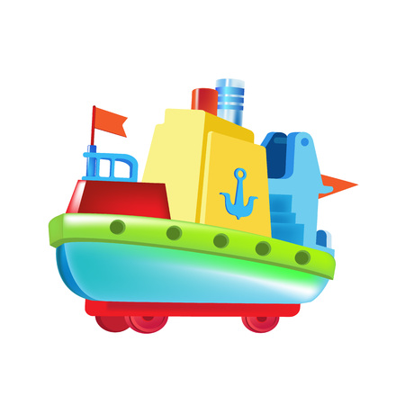 Modern colorful childrens toys. Toy store, home kids games. Educational and sports games. Beautiful childrens colored boat, made of bright elements. Water vehicle. Vector illustration.