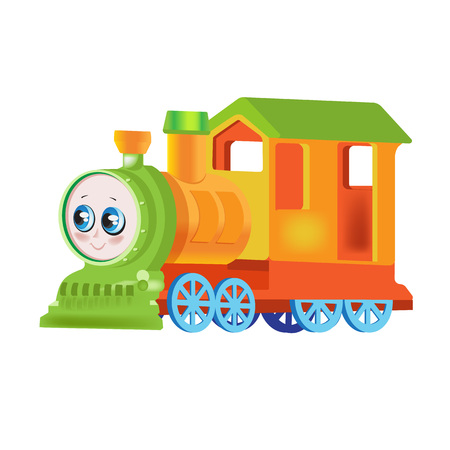 Modern colorful childrens toys. Toy store, home kids games. Educational and sports games. Funny multicolored locomotive, train, transportation of people and cargo, travel. Vector illustration. Illustration