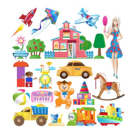 Set van kleurrijke kinderen speelgoed pictogram. Stock Illustratie