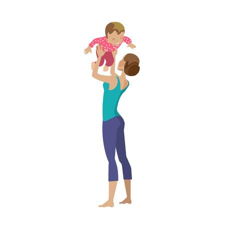 Mère et bébé dans différentes situations de style de vie.
