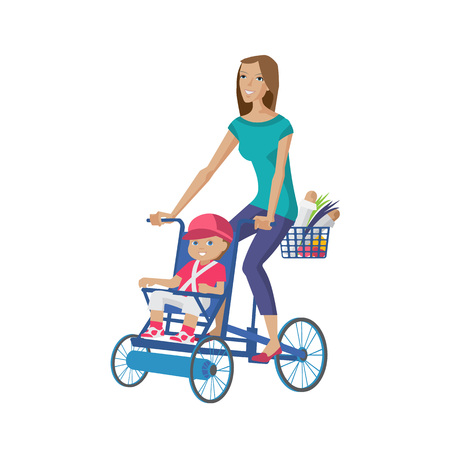 Mother walks with child, rolls on bicycle, buying food home. Foto de archivo