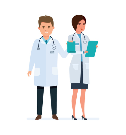 Character medical doctors, clerks. Healthcare and medical help. Health assistant. Illustration