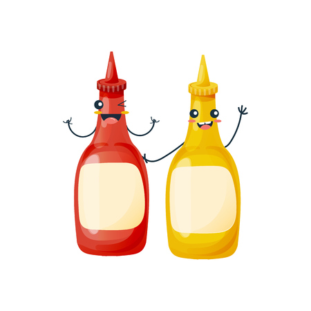 Dishes from fast food. Funny bottles with ketchup and mustard on white background.