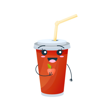Drinks from fast food. Funny glassful with sweet, carbonated drink on white background.