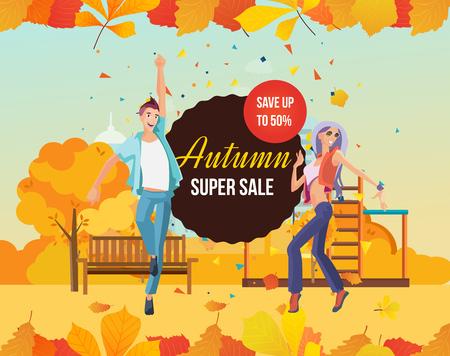 Autumn super sale design template with colorful seasonal leaves.