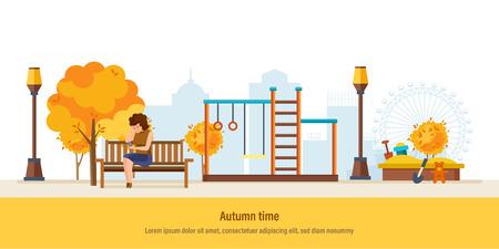 Autumn time. Autumn city park. Girl resting in park