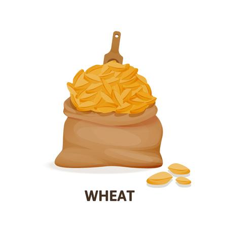 Grain crops in bags. Bag of wheat grain, organic food.