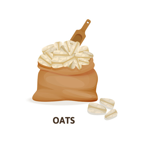 Bag of oats culture, wooden spoon, agricultural crop, organic food.