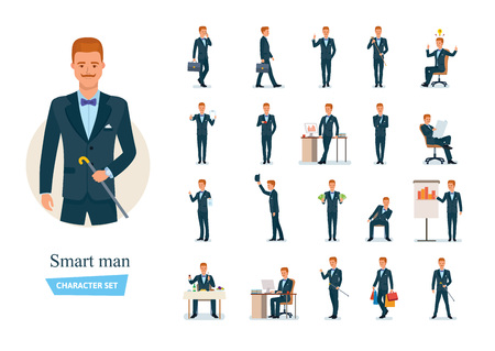 Set of smart man cartoon character. Man communicate on phone, thinks, works, carries out purchases in store, conducts presentations and seminar, rests, meets with partners, dines.