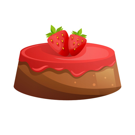 Cake with icing-sugar and fresh strawberries. Sweet baked desserts. Delicious food. Vector illustration isolated.