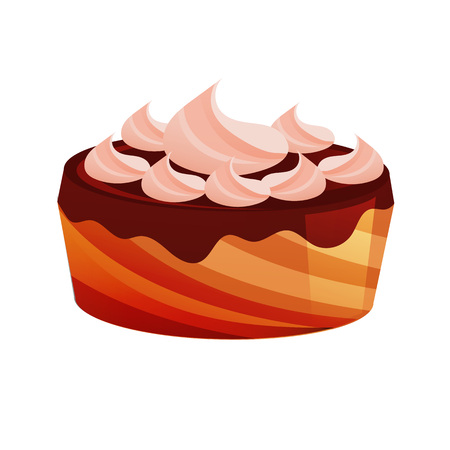 Cake, dessert, in chocolate glaze, with cream and biscuit. Sweet baked desserts. Delicious food. Vector illustration