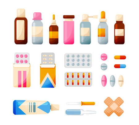 Medical set of elements: tablets, syrups, drops, ointments, equipment. Healthcare and medical help. Tools for medical research, treatment, work in institution Vector illustration isolated
