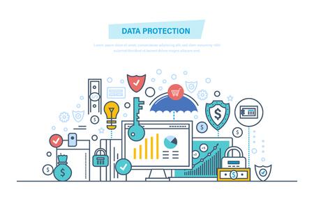 Datenschutz, Internetsicherheit, Antivirensoftware und -dienste, Datenschutz. Sichere vertrauliche Informationen. Sicherheitsleistungen, Zahlungen, Finanzen. Dünne Linie Design der Illustration von Vektorgekritzeln.