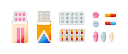 Set van verschillende vector pillen en tabletten, in verschillende pakketten.