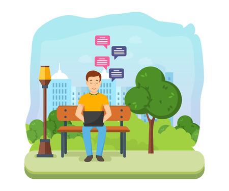Man running remotely on freelance, on bench in summer park. 向量圖像