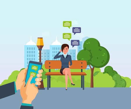 Girl resting in park, communicate by phone, through messenger.