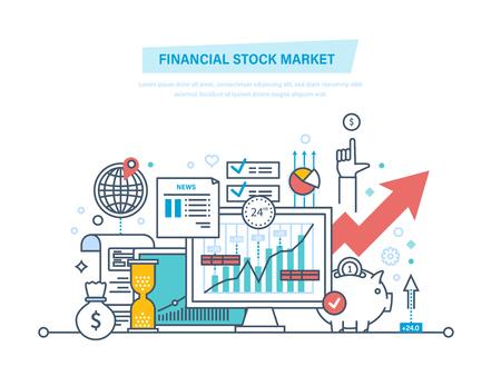 Financiële aandelenmarkt. Kapitaalmarkten, handel, e-commerce, investeringen, financiën.