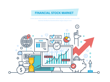 Financial stock market. Capital markets, trading, e-commerce, investments, finance. 矢量图像
