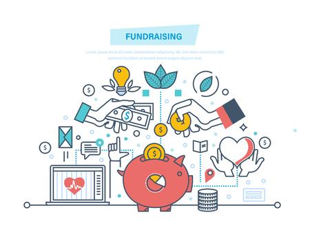 Fondsenwervingsconcept. Fondsenwervende evenement, vrijwilligerscentrum. Donatie in hartvorm. Stock Illustratie