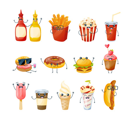 Set of funny characters delicious dishes, drinks from fast food