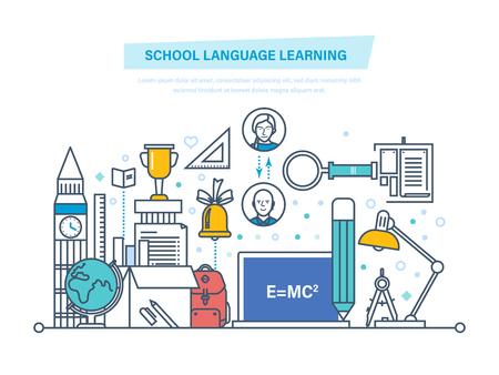 Taaltrainingen, studeren vreemde talen in het buitenland. Stock Illustratie