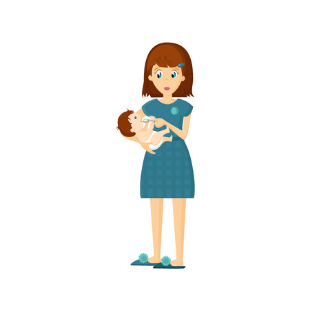 Mother and baby in different lifestyle situations. Happy family. Mother, woman feeds baby delicious eating in the home room. Healthy clean food. Cartoon character, vector illustration. Illustration