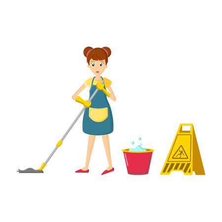 Girl in different situations, office cleaning concept. Girl in an apron, is engaged in cleaning the room, washes the floor with a mop, brings cleanliness. Cartoon character, vector illustration.