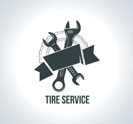 Service concept. Black tire icon. Icon for tire service.