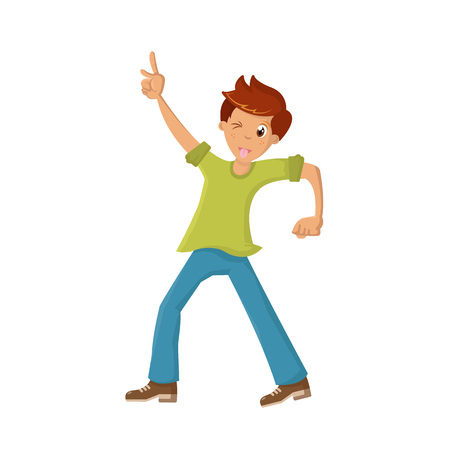 Energetic young guy having fun on white background, vector illustration.